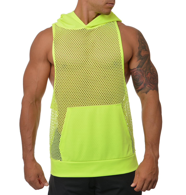ab11b7c2102363 MissionLA Mens Urban See Through Pattern Sleeveless Stringer Hoodie Shirt  (Made in America)