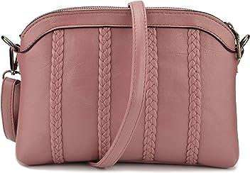 3d6a63373a63 JIARUO Women PU Leather Crossbody bag purse Double Twin Pocket Shoulder bag  handbags