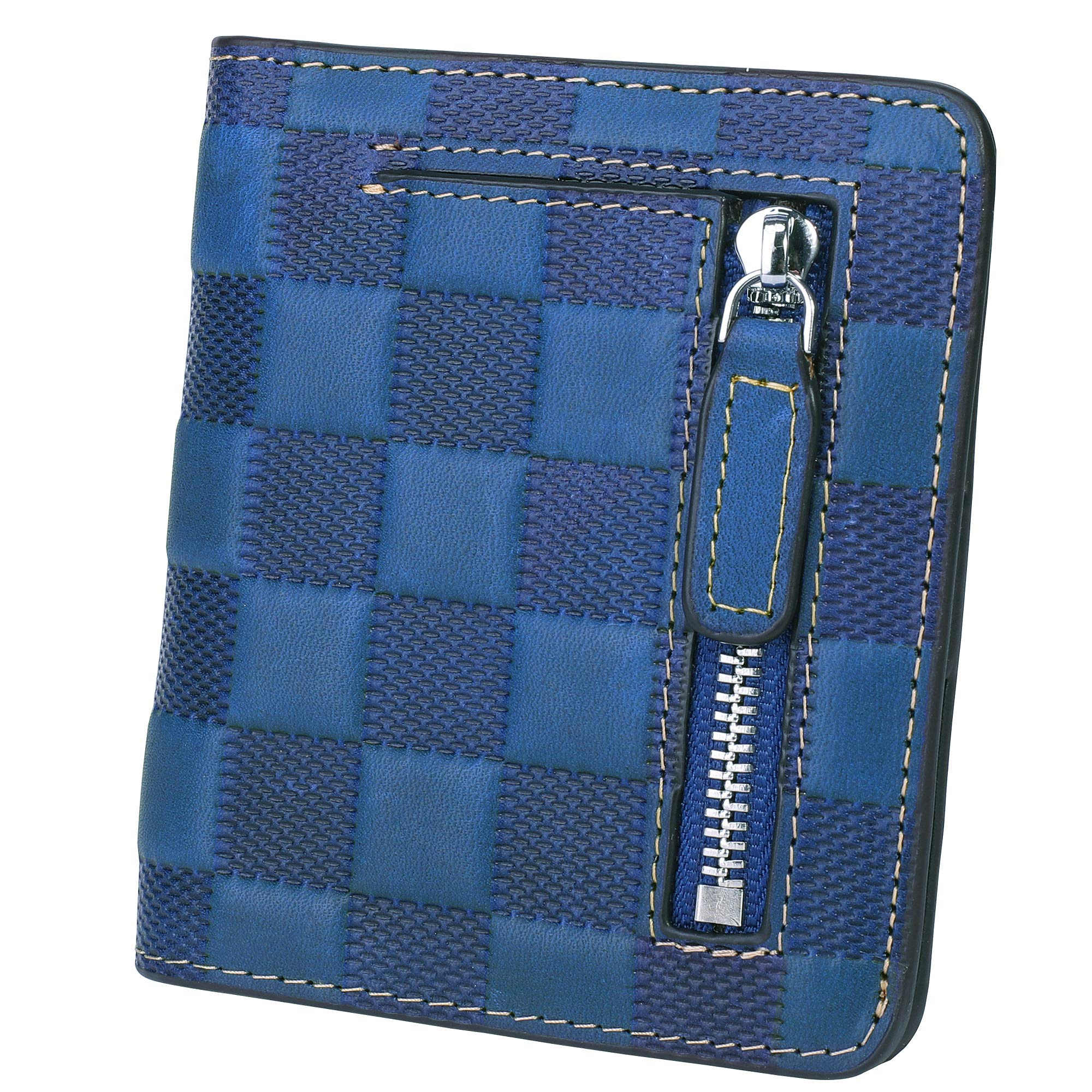 BIG SALE-AINIMOER Women's RFID Blocking Leather Small Compact Bifold Pocket Wallet Ladies Mini Purse with id Window (Checkered Blue)