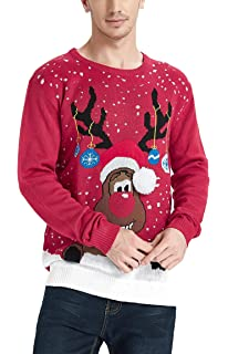 ac8abe496c00 Daisyboutique Men's Christmas Rudolph Reindeer Holiday Sweater Cardigan  Cute Ugly Pullover