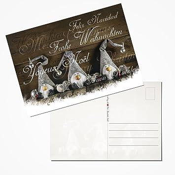 10 Stück Weihnachtspostkarten Set Postkarten WICHTEL TEXT FROHE ...