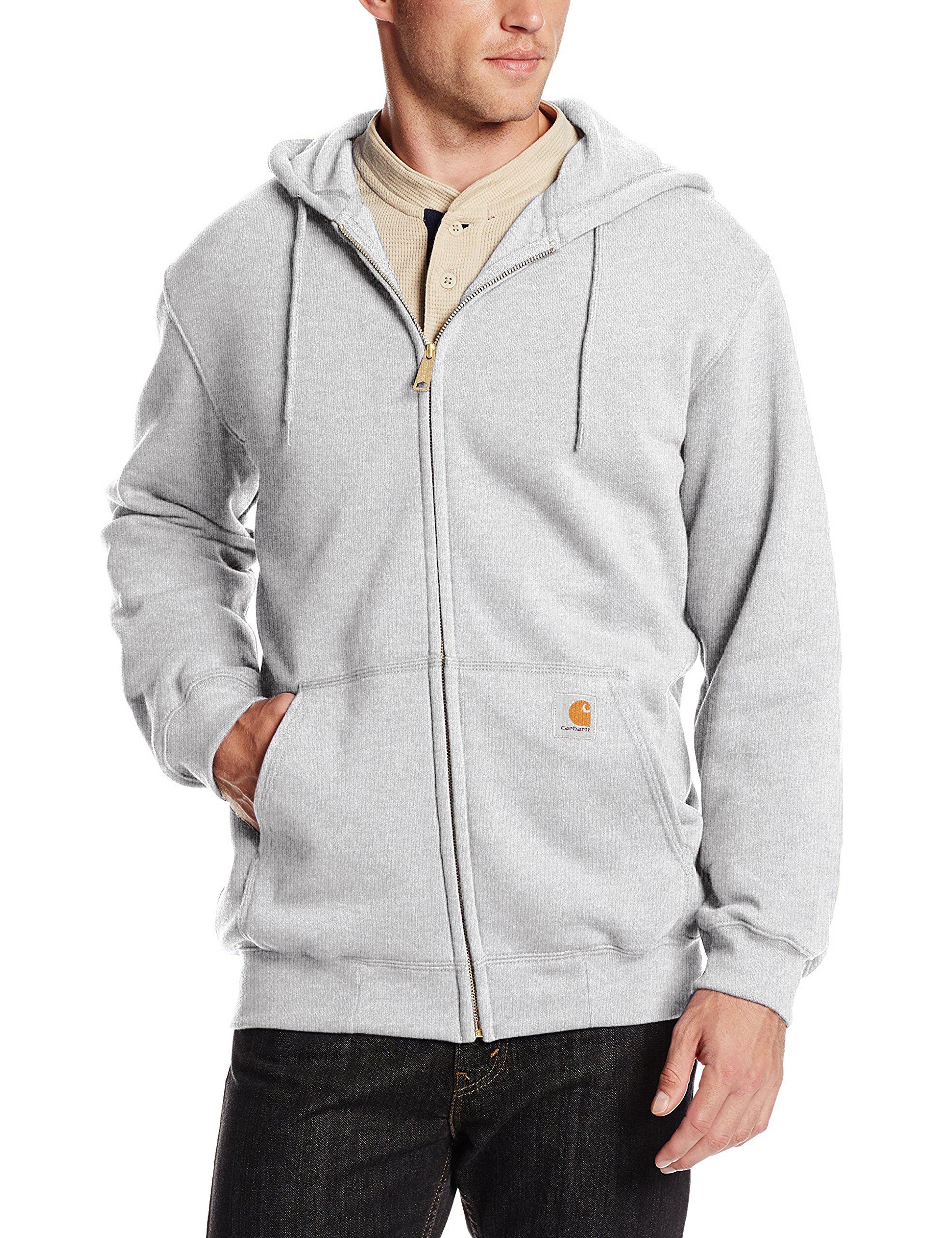 Carhartt Men's Midweight Sweatshirt Hooded Zip Front Original Fit K122,Heather Grey,Medium