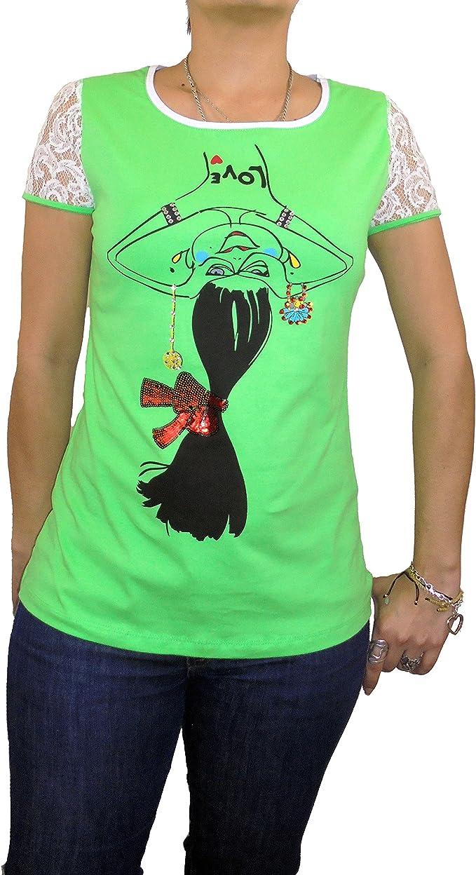 Camiseta manga corta, mangas tejido de blonda, color verde estampado muñeca boca abajo con lentejuelas tshirt Lutasha (M): Amazon.es: Ropa y accesorios