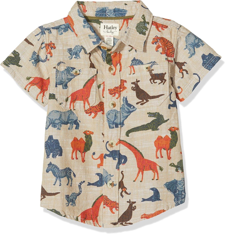 Hatley Short Sleeve Button Down Shirts Camisa Jungle Safari 100 12 meses para Beb/és Blanco
