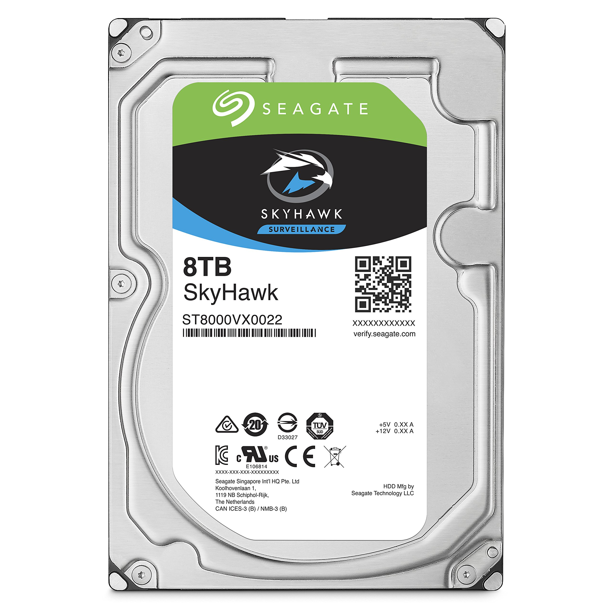 Seagate SkyHawk 8TB Surveillance Internal Hard Drive HDD - 3.5 Inch SATA 6Gb/s 256MB Cache for DVR NVR Security Camera System with Drive Health Management (ST8000VX0022)