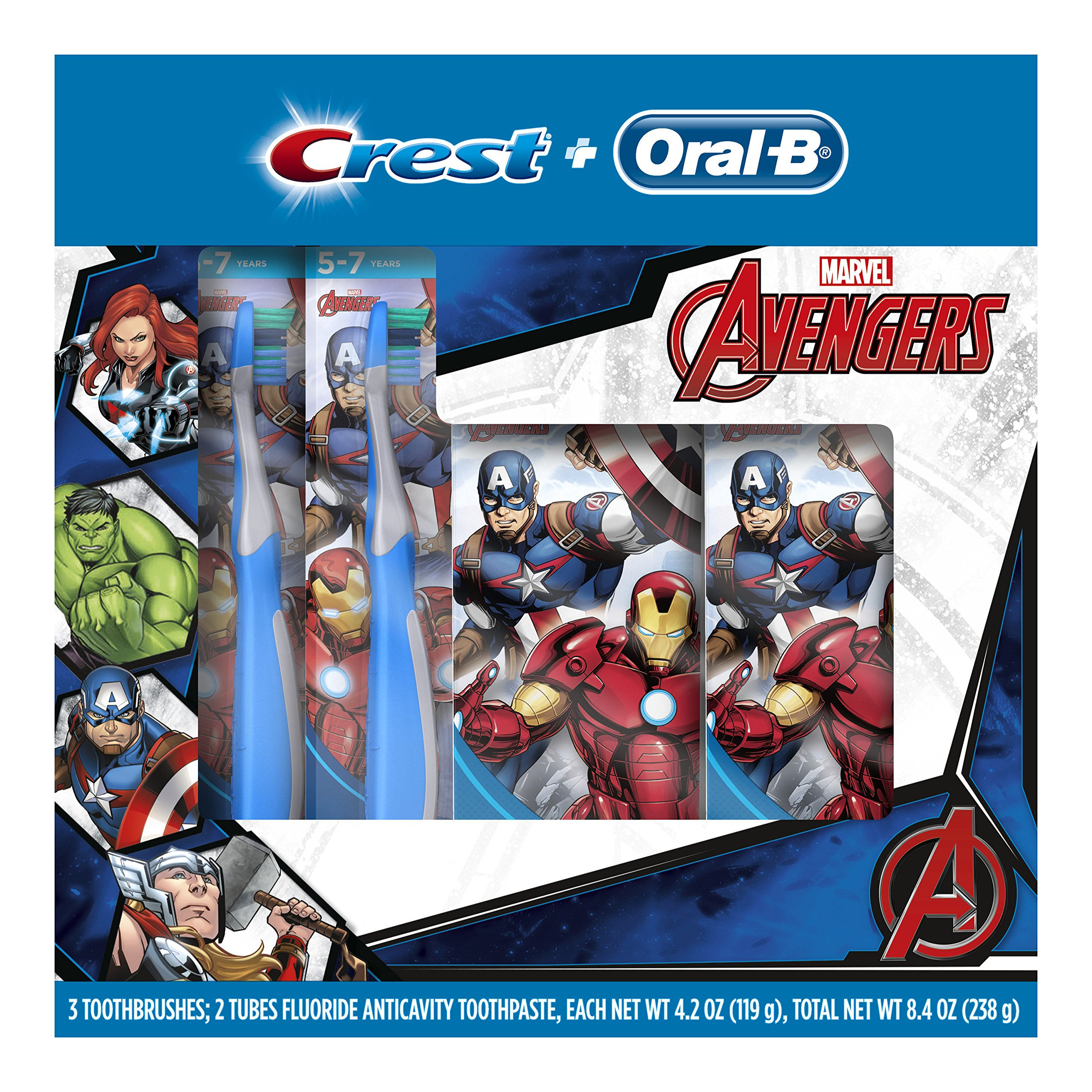 Oral-B and Crest Kids Pack Featuring Marvel's Avengers, Kids Two Fluoride Anticavity Toothpastes and Three Toothbrushes