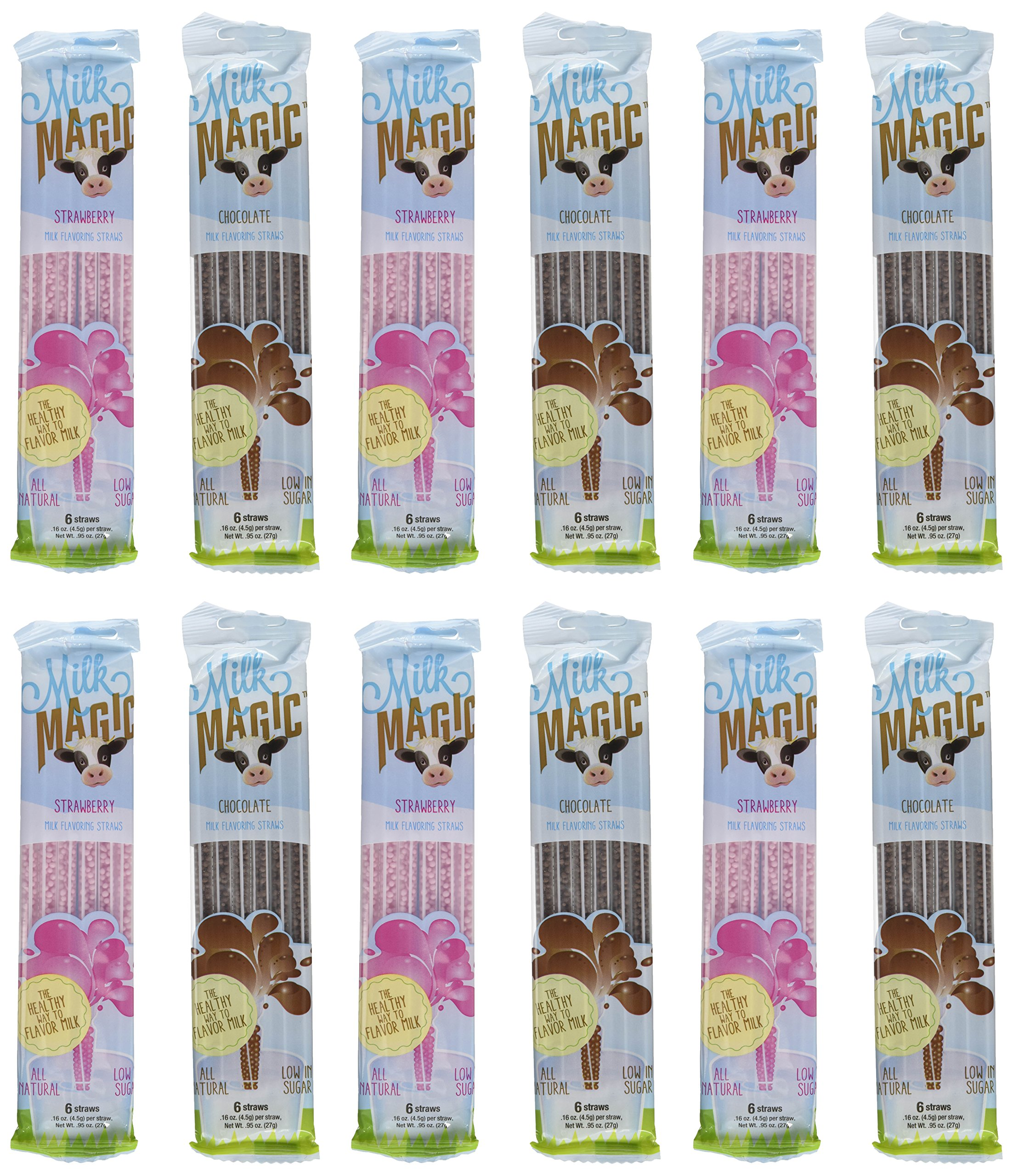 Milk Magic, Milk Flavoring Straws, Variety Pack Including Chocolate and Strawberry, 12 Six-Packs, 6 of Each Flavor by Got Milk?