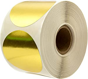 """2"""" Metallic Gold Color Coding Stickers/Permanent Adhesive - 500/Roll"""