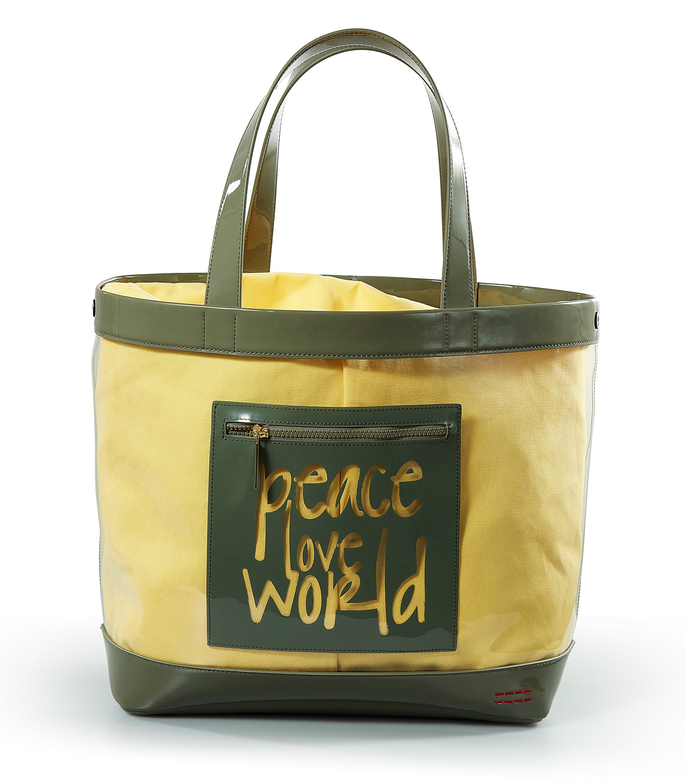 Peace Love World Oversized Clear Tote PLW208 Basil Yellow