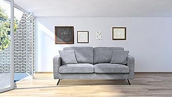 Fanilife Canapé Canapé Fixe 3 Places Dossier Haut Et Mousse HR Canapé Lit  Style Design Et