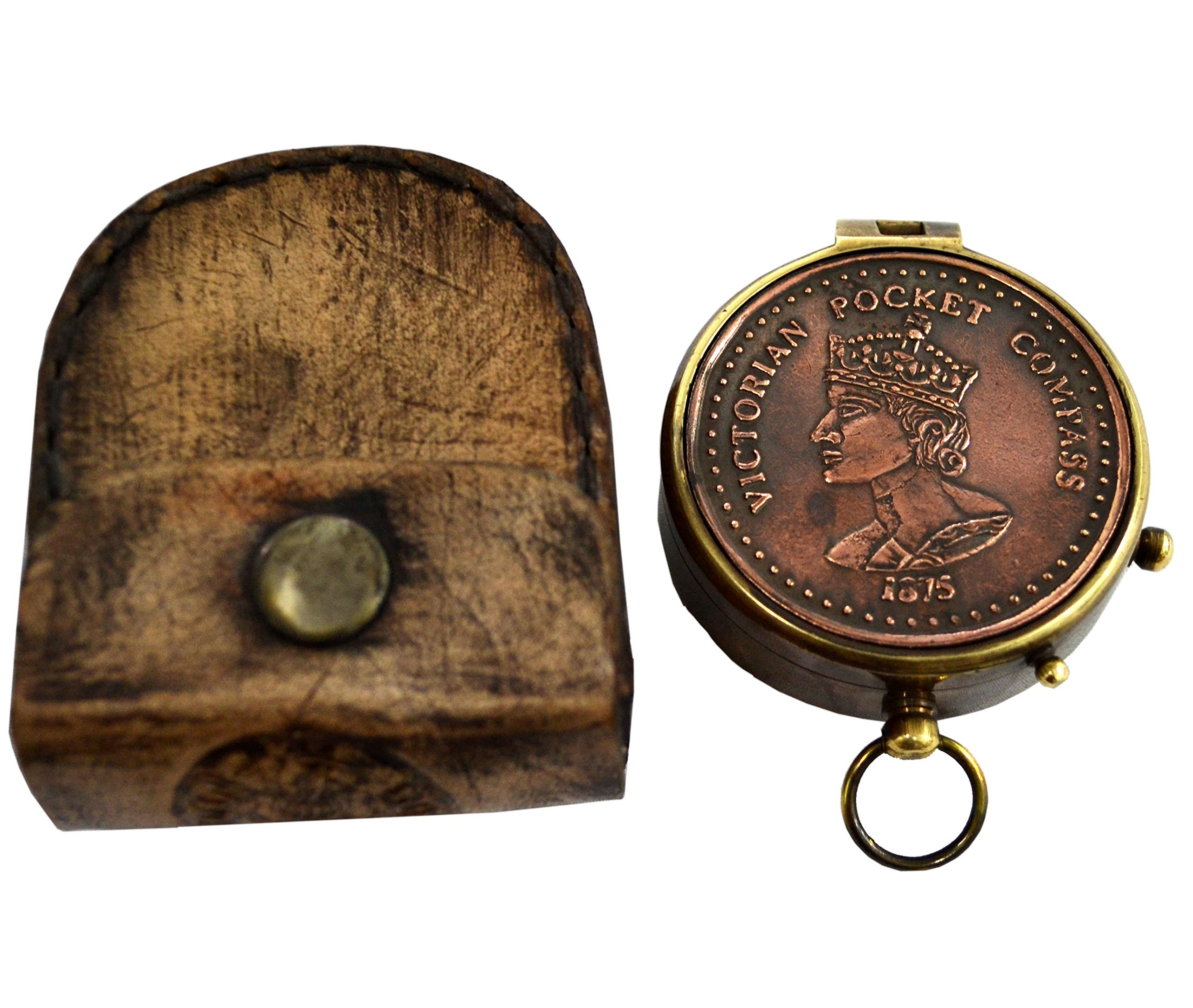 Brass Nautical Queen Victoria Magnetic 2 inch Gift Pocket Compass in Leather Case