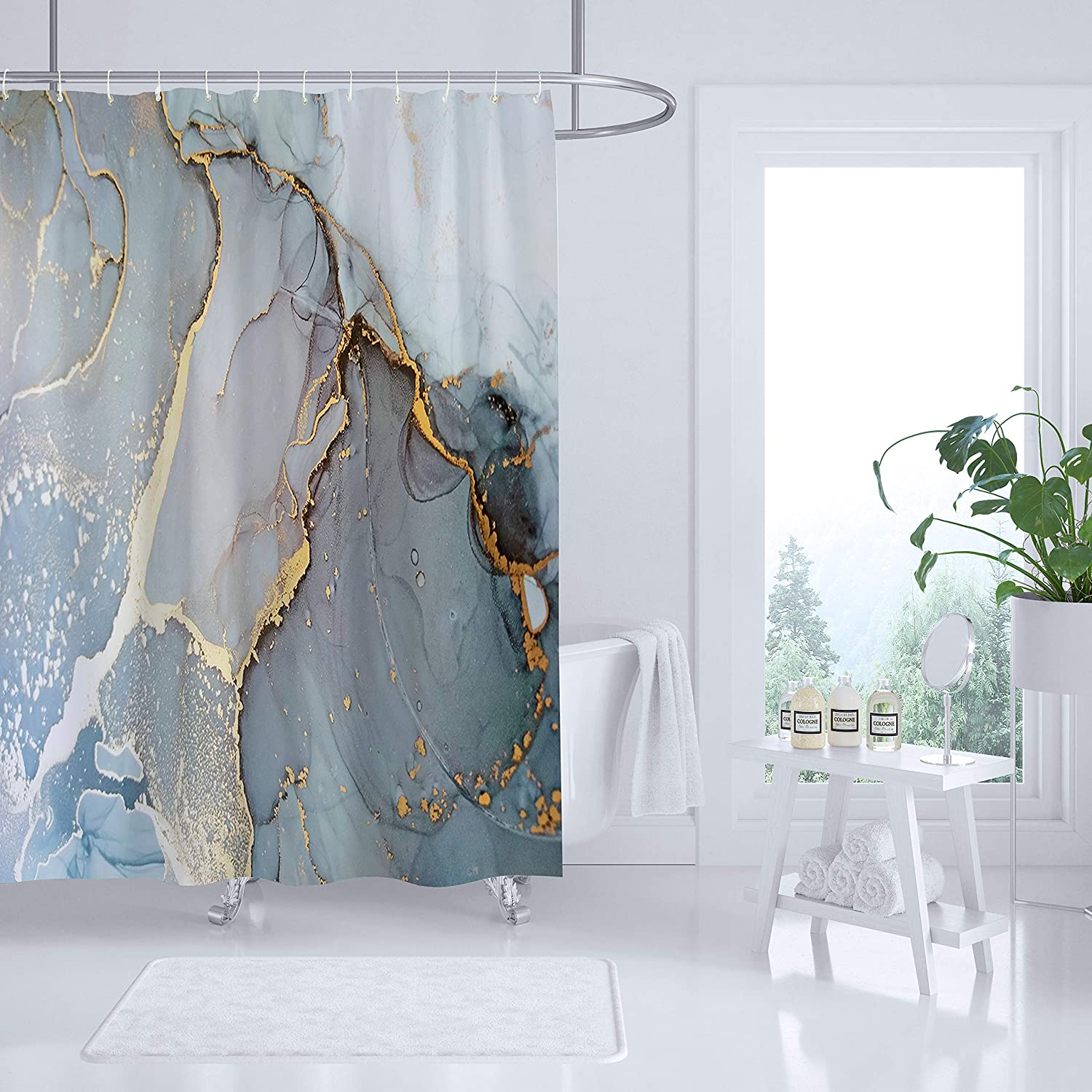 Sufancy Marble Shower Curtain,Light Gray Stone Light Granite Home Bathroom Decor Polyester Fabric Waterproof Machine Washable 72x78 Inches Set with Hooks