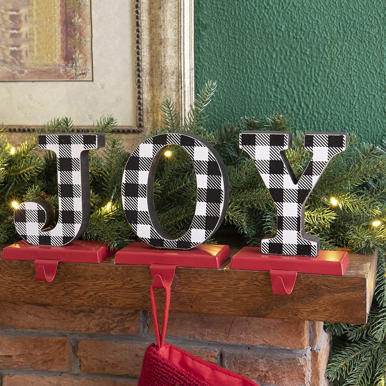 Glitzhome Wooden/Metal Christmas Stocking Holders, Joy