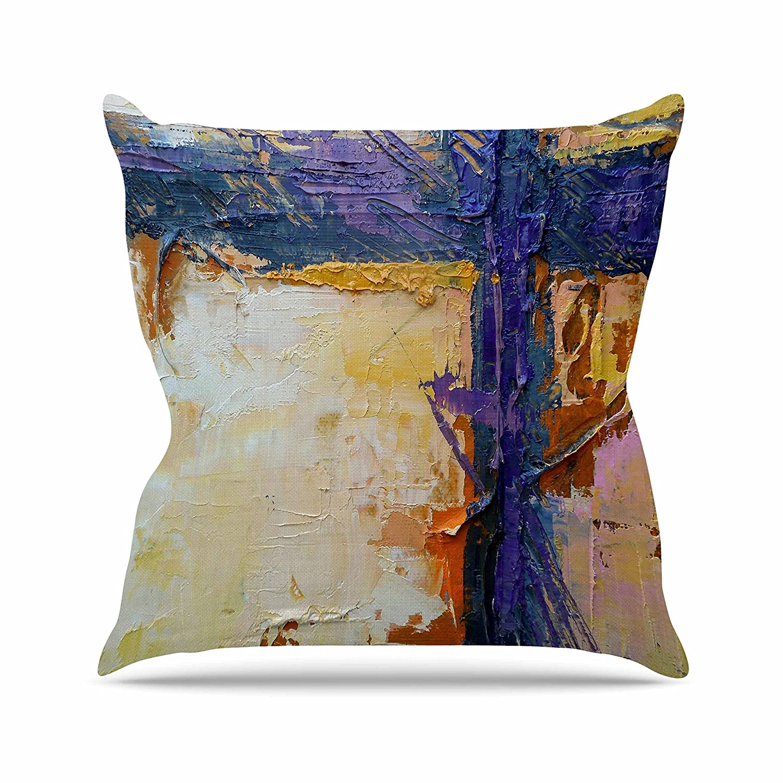 Kess InHouse Carol Schiff Royal Colors Yellow Purple Throw Pillow 26 by 26