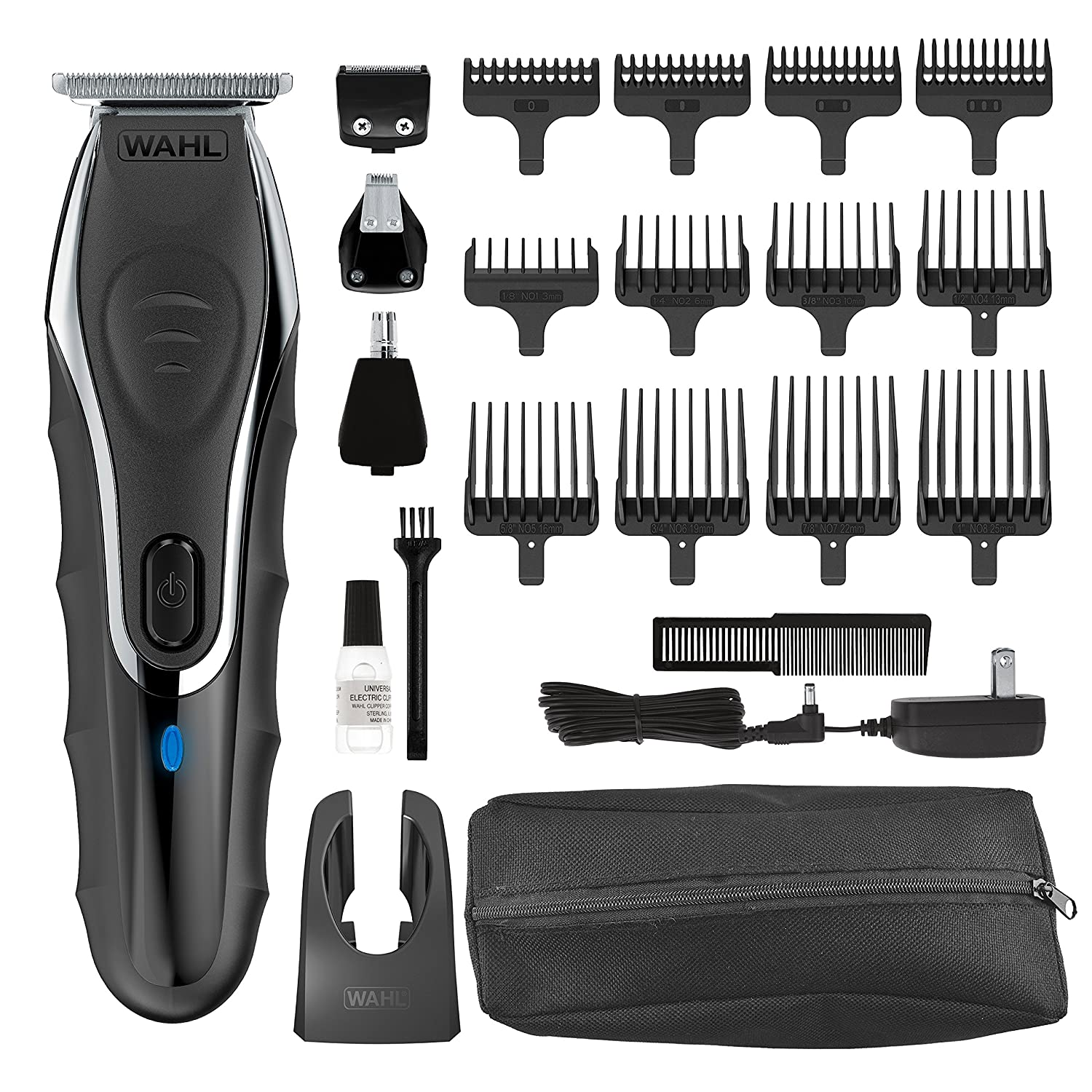 Wahl Clipper Aqua Blade Wet/Dry Beard Trimmer Kit, Lithium Ion All in One Grooming Kit for Beard, Ear, Nose and Body, Waterproof Cordless Rechargeable, By The Brand used by Professionals #9899-100 Wahl Clipper Corp