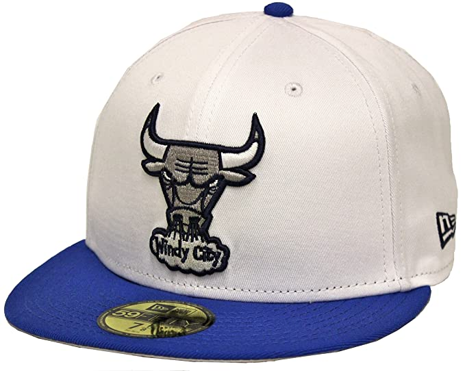 New Era 59Fifty University 12 s Chicago Bulls White Blue Fitted Cap ... 923a12bd8a4
