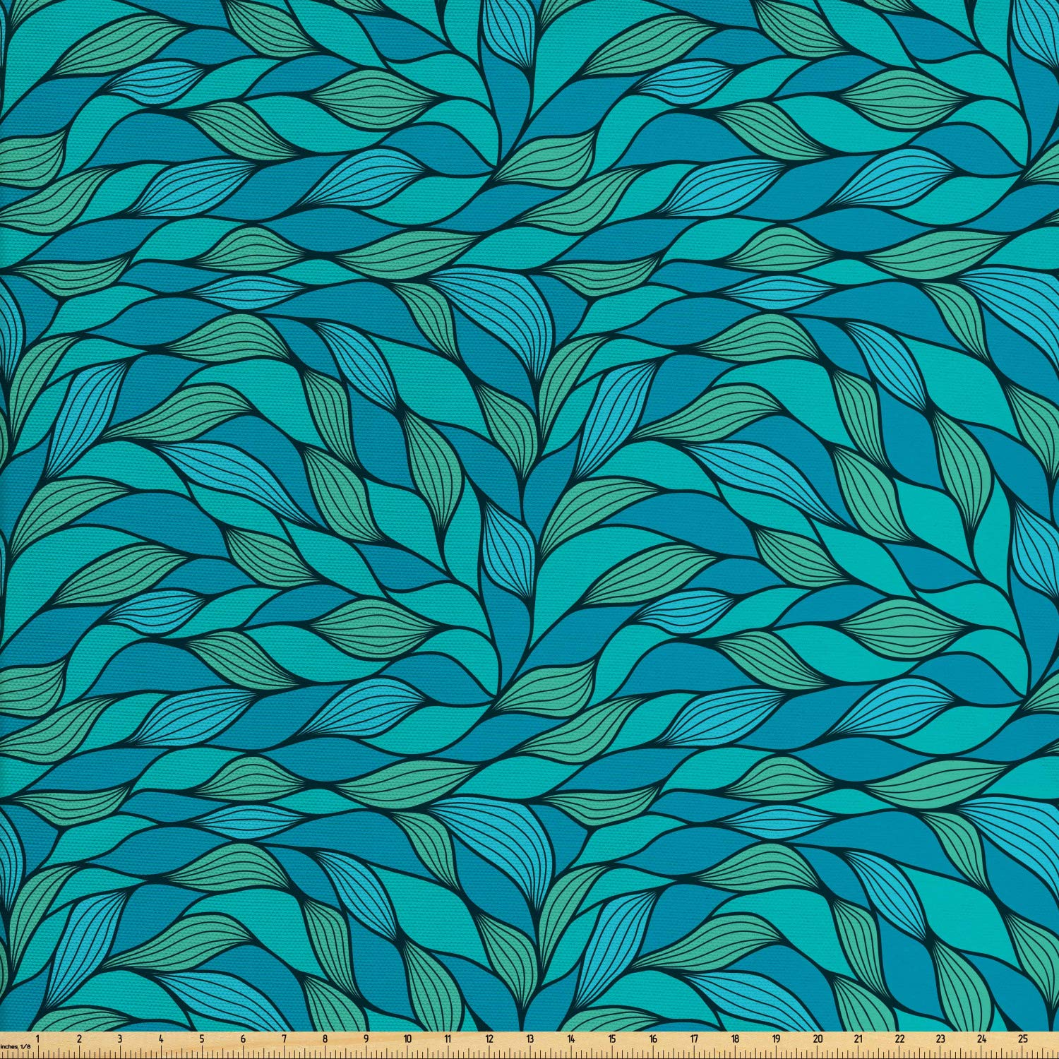Ambesonne Teal Fabric by The Yard, Abstract Wave Design Ocean Themed Marine Life Pattern Print, Decorative Fabric for Upholstery and Home Accents, 5 Yards, Blue Mint Green