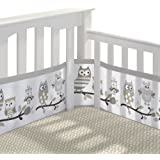 BreathableBaby | Classic Crib Bedding Set | Helps Prevent Arms and Legs from Getting Stuck Between Crib Slats | Independently Tested for Safety | 3 Piece | Owl Fun Gray