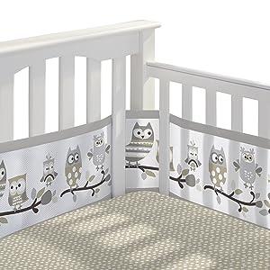 BreathableBaby 3pc Classic Crib Bedding Set– Owl Fun Gray