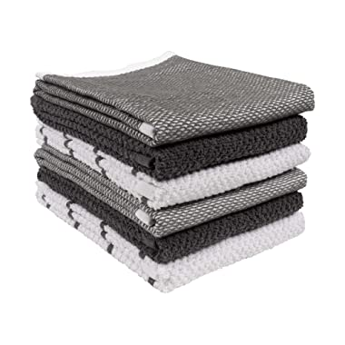 KAF Home Ayesha Curry Mixed Utility Kitchen Towel Set | Set of 6 Mixed Terry Kitchen Towels | Absorbent Kitchen Towels Perfect for Spills, Drying Dishes, Cooking, and Any Household Mess - Gray