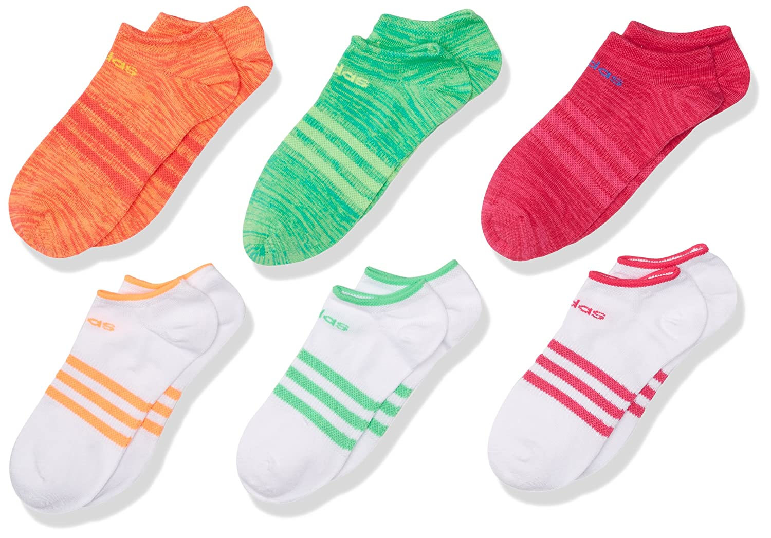 adidas Girl's Superlite No Show Socks (Pack of 6), M/M 104284