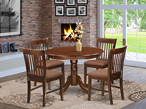 HLNO5-MAH-C 5 Pc set with a Kitchen Table and 4 Dinette Chairs in Mahogany