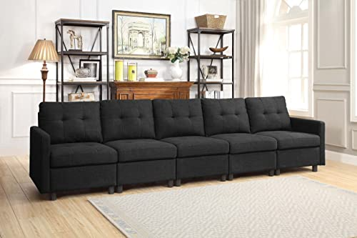 DAZONE Modular Sectional Sofa Assemble 5-Piece Modular Sectional Sofas Bundle Set Cushions, Easy to Assemble Left Right Arm Chair, Centre Armless Chair, Charcoal
