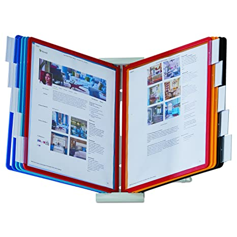 Durable Desktop Reference System 10 Double Sided Panels Letter Size Assorted Colors Instaview Design 561200