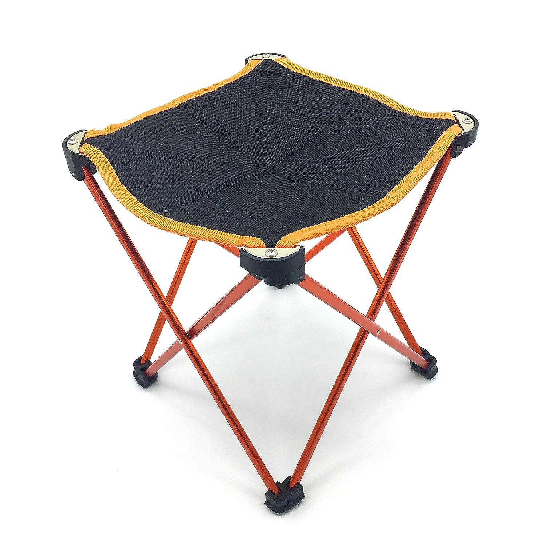 silfraeキャンプスツールアウトドアFolding Stoolポータブル旅行椅子with Carry Bag for釣りハイキングキャンプ B0734H63VS  オレンジ