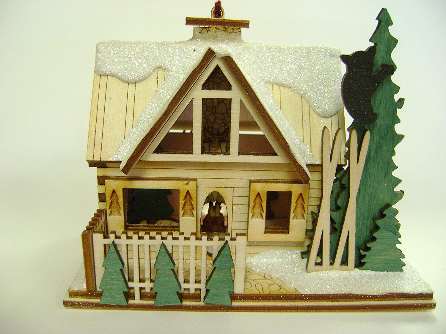 Ginger Cottages - Santa's Ski Lodge GC126, Miniature Collectable building for Christmas and holiday displays. Wood table top display or ornament. Hand crafted in the Richmond Virginia, USA area. TRC Designs