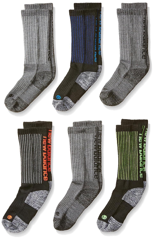 New Balance Big Boy's 6 Pack Athletic Crew Socks Black/Grey Medium N824-6-C