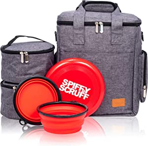 Dog Travel Bag | Large Storage Capacity for Supplies and Accessories | Waterproof Weekend and Overnight Tote | Organizer with Collapsible Bowls, Food Storage Containers and Flying Disc