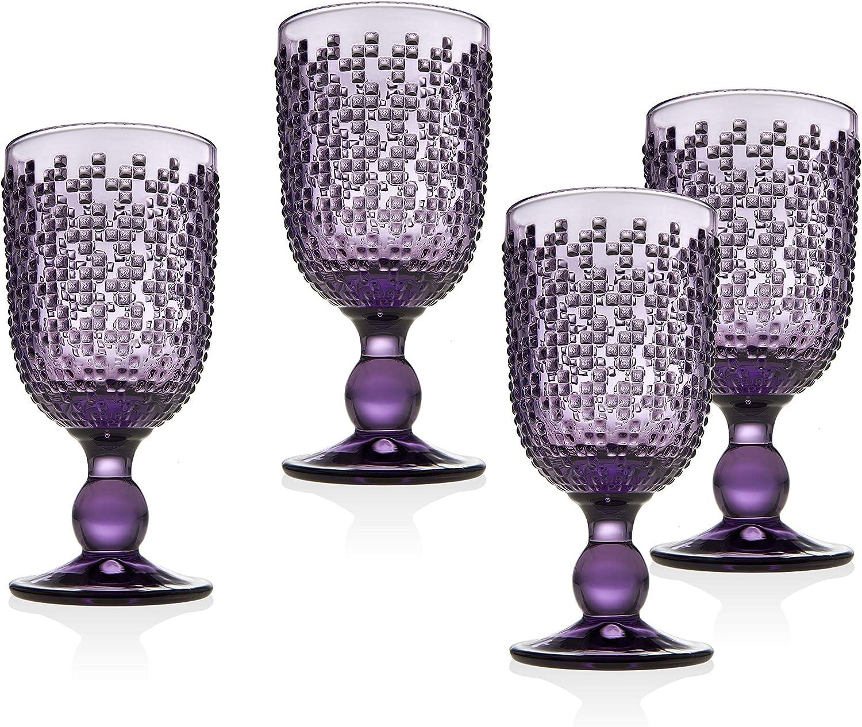 Godinger Wine Glasses Goblet, Beverage Glass Cups - Alba Amethyst, Set of 4