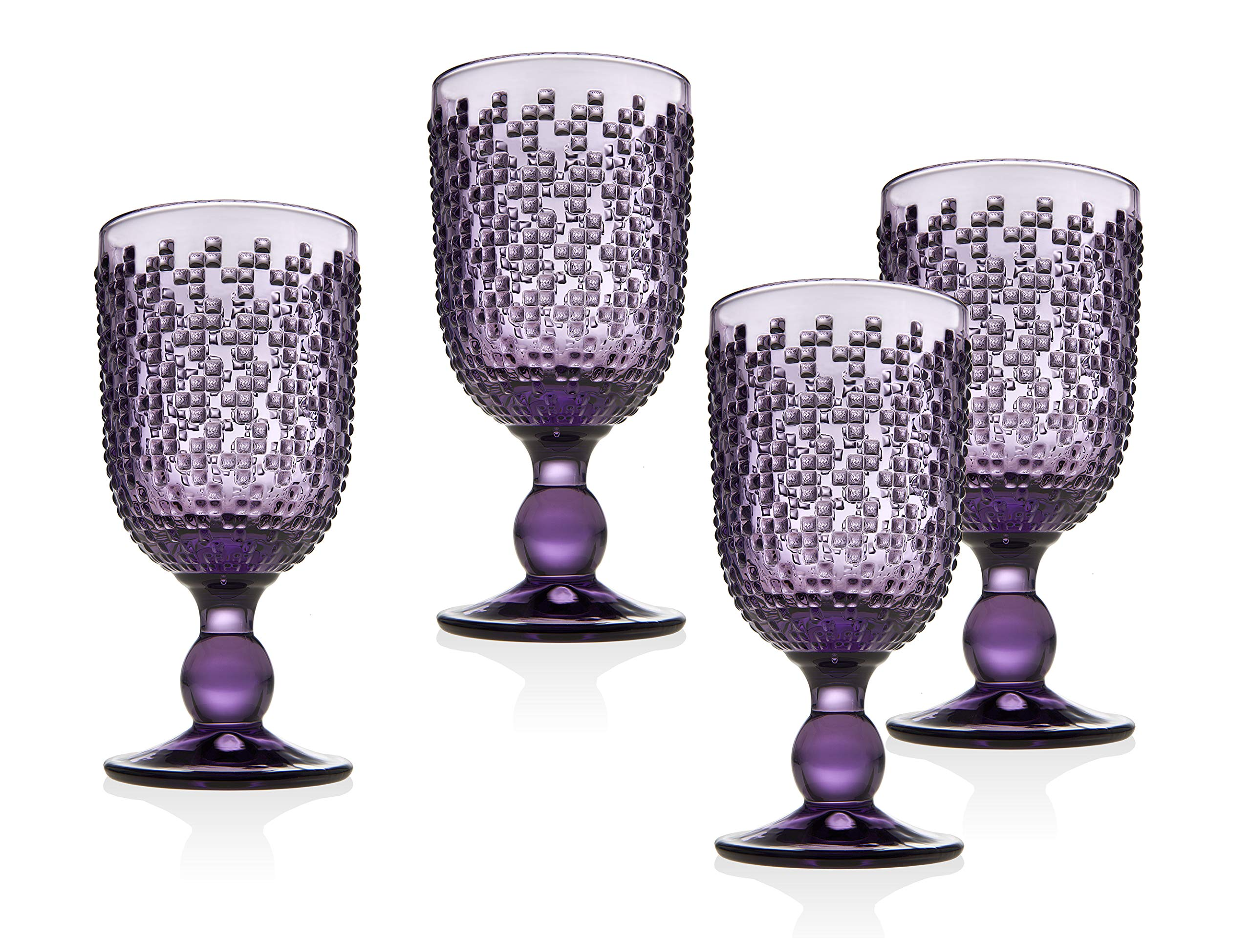 Wine Goblet Beverage Glass Cup Alba by Godinger - Amethyst - Set of 4