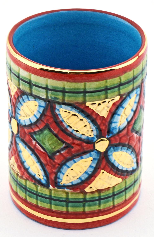 Art Escudellers LAPICERO Ceramica Pintado a Mano con Oro de 24K, Decorado al Estilo BIZANTINO Rojo. 6cm x 6cm x 8cm: Amazon.es: Hogar