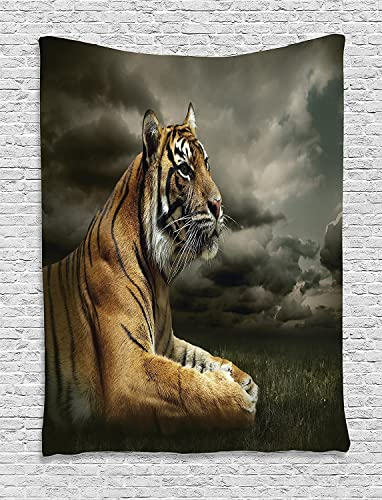 Ambesonne Wildlife Tapestry, Tiger Leopard Safari Jungle African Cat on Clouds Nature Fauna Illustration, Wall Hanging for Bedroom Living Room Dorm, 60 X 80 , Grey Brown