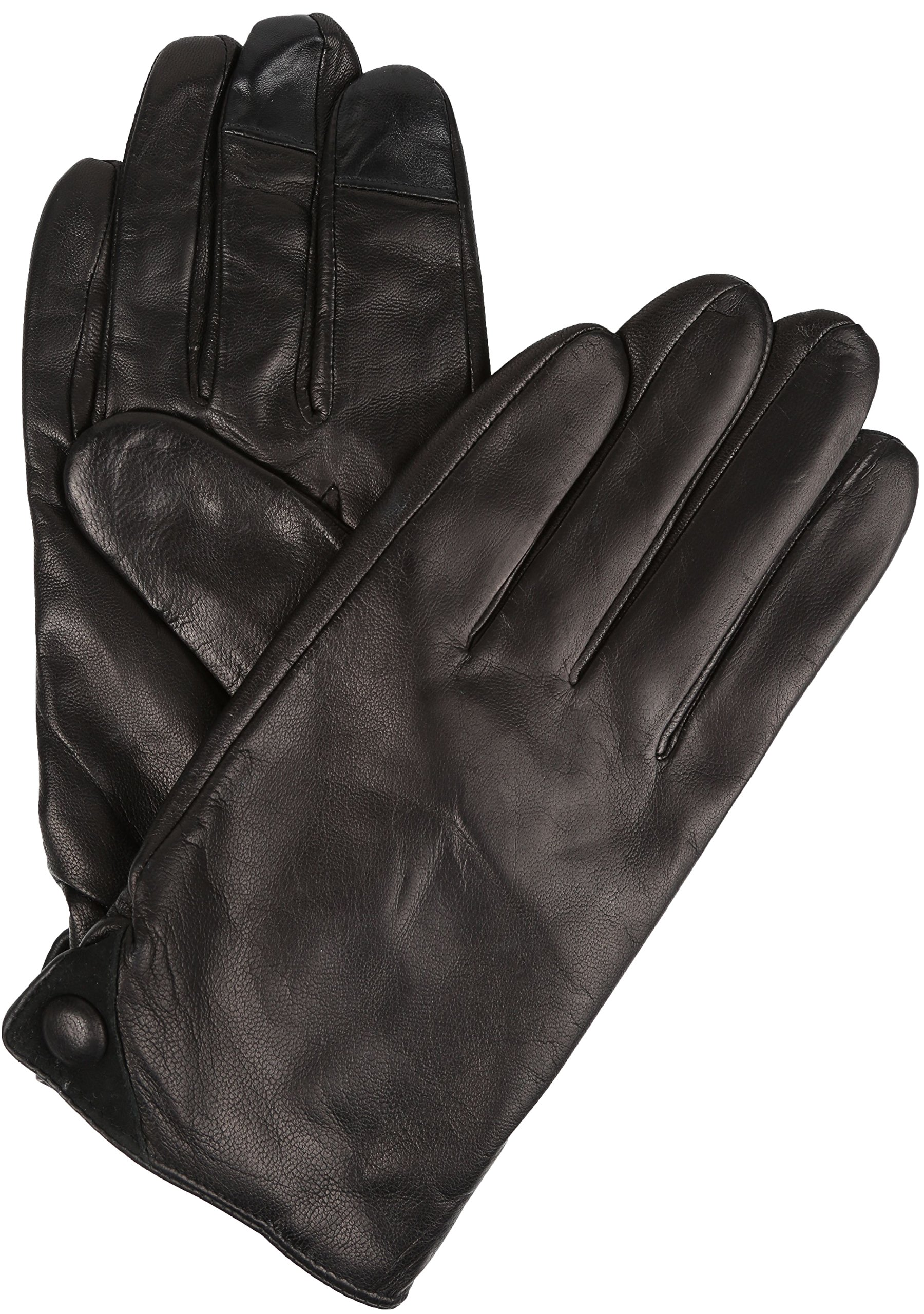 Sakkas 16170 - Damen Mens Classic Touch Screen Compatible Real Leather Gloves - Black - 2X
