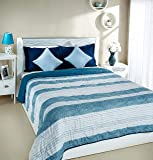 Amazon Brand - Solimo Brickline Microfibre Printed Quilt Blanket, Double, 120 GSM, Blue