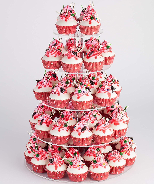 Amazon.com | Yestbuy 5 Tier Maypole Round Acrylic Cupcake Tree Tower ...
