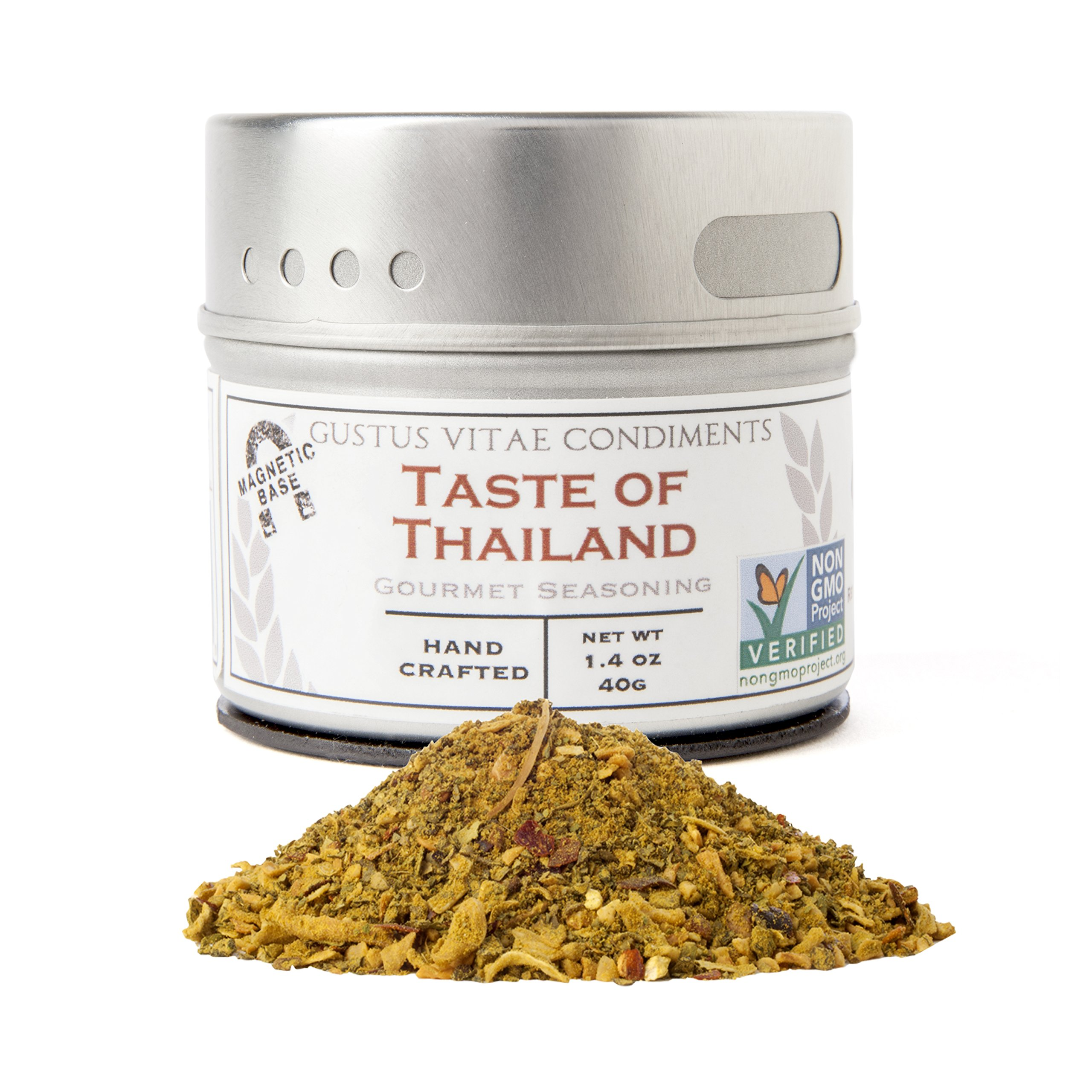 Taste of Thailand Seasoning | Non GMO Verified | Magnetic Tin | Artisan Spice Blend | 1.4oz | Crafted in Small Batches by Gustus Vitae | #28