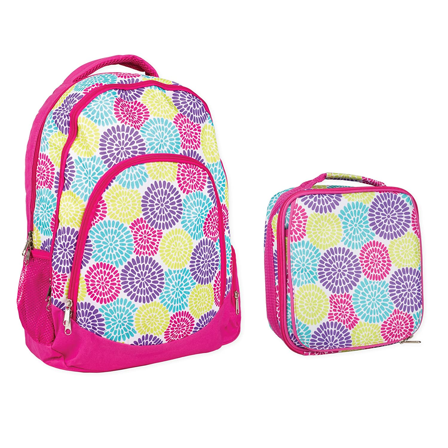 Reinforced Water Resistant School Backpack and Insulated Lunch Bag Set Flower Petal Burst