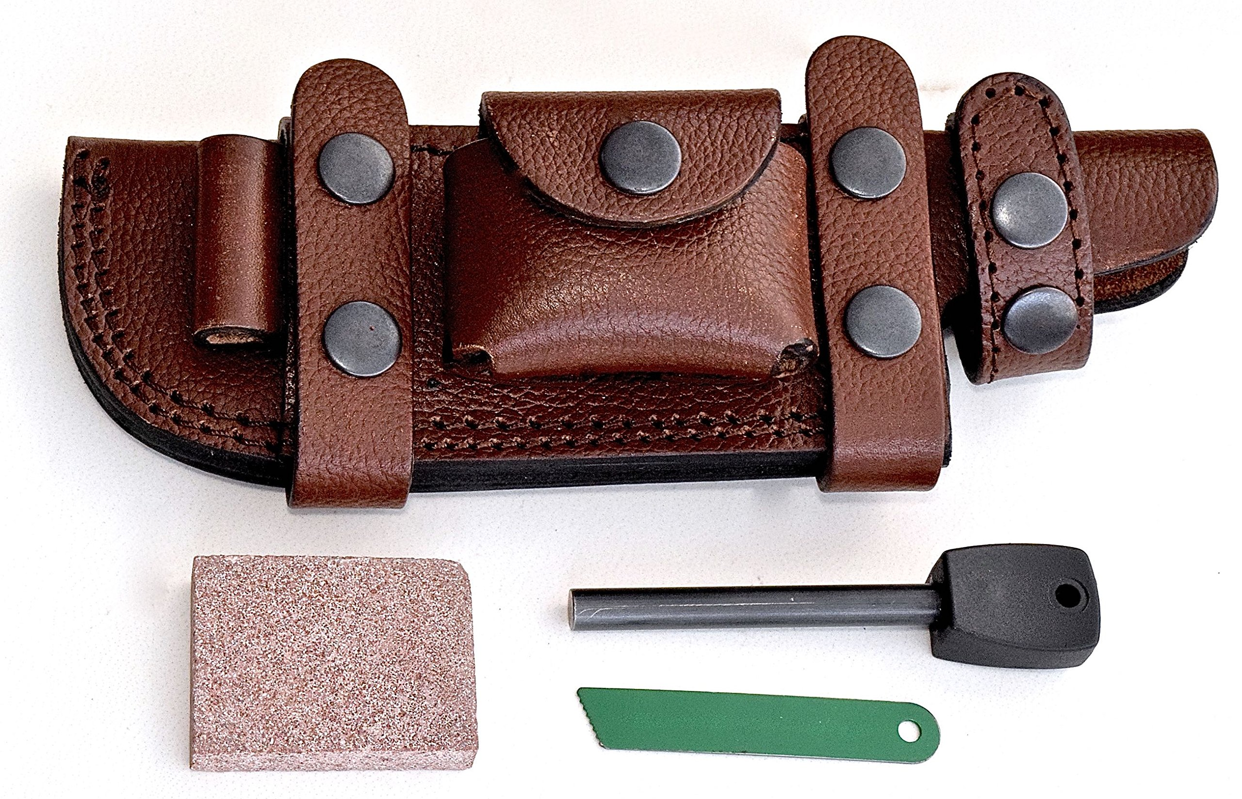 CFK Cutlery Company USA Handcrafted RIGHT HAND SCOUT/LEFT HAND CROSS DRAW Horizontal BROWN Leather Tactical Hunter Blade Knife Sheath & Wet Stone & Fire Starter Set CFK118