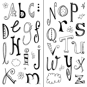 Amazon Inkadinkado Doodle Alphabet Clear Stamps Arts Crafts Sewing