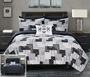 Chic Home Eliana 4 Piece Reversible Coverlet Set Embossed Patchwork Bohemian Paisley Print Quilted Design Bedding-Decorative Pillow Shams Included, Queen, Black