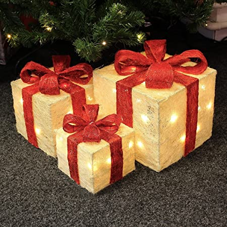 3 PIECE LIGHT UP GLITTER PARCELS ORNAMENT CHRISTMAS DECORATION - 40 LEDs  /(Gold and Red/) Premier Christmas Ornament - 3 PIECE LIGHT UP GLITTER PARCELS ORNAMENT CHRISTMAS DECORATION - 40
