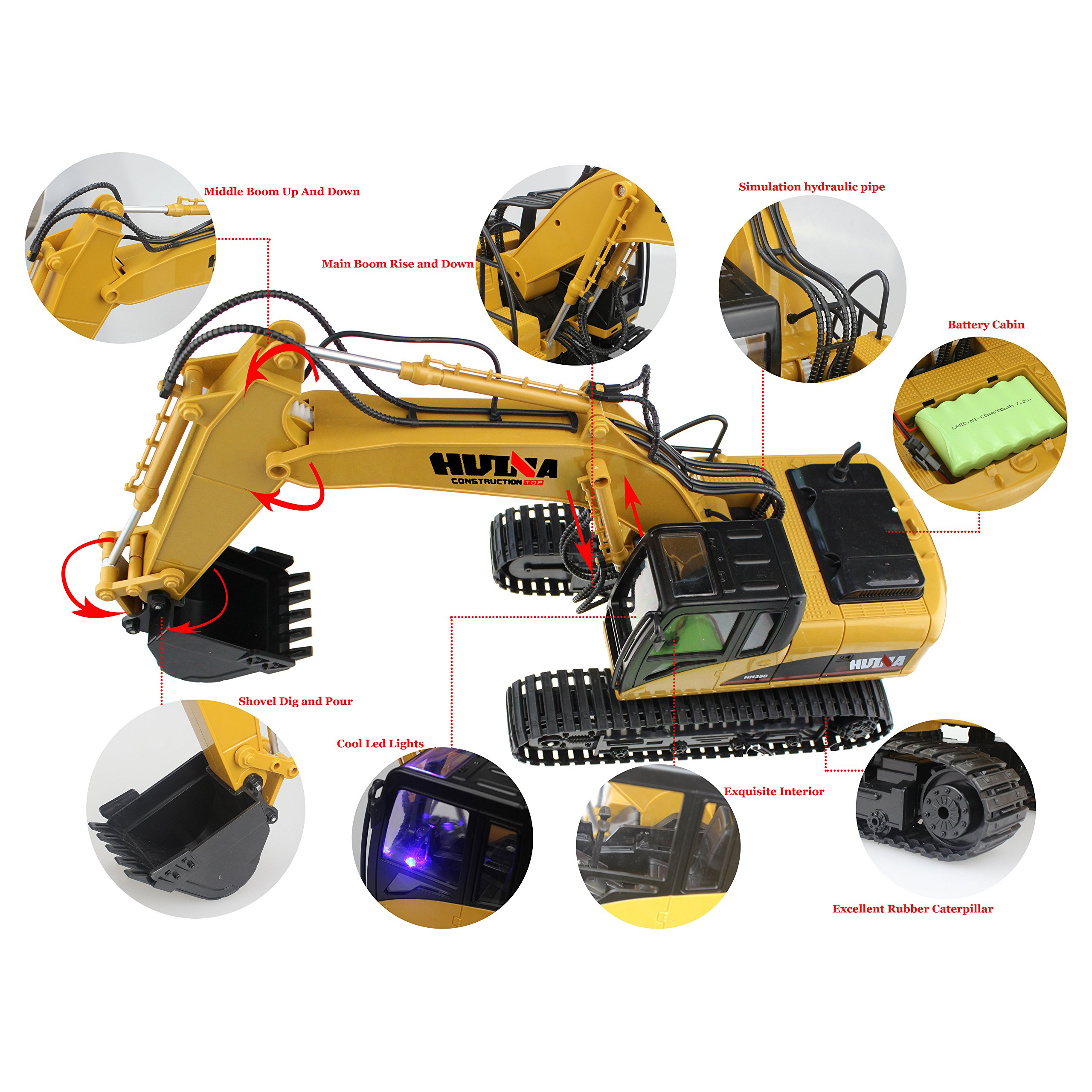 RC Truck Remote Control Excavator Crawler Tractor 15 Channel 2.4G Construction Vehicle Digger Electronics Hobby Toys with Simulation Sound and Flashing Lights by fisca (Image #4)