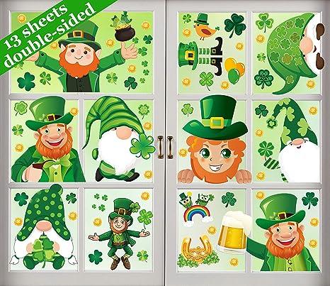 St.Patrick/'s Day Window Clings ASSORTED SHAMROCK/'S,Lucky Ladybug on 1 Shamrock