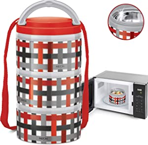 MILTON Insulated Lunch Bento Box Microwave Safe Stainless Steel thermos for Kids/Adults 12 oz. Food Jar With Shoulder Strap for Men Women 3 Compartment Meal Prep Containers (Red Checkers, 3 Tier)