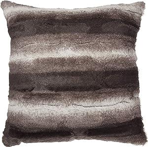 "North End Decor Faux Fur 18""x18"" with Insert, Mink Brown White Striped Plush Throw Pillows, 18x18 Stuffed"