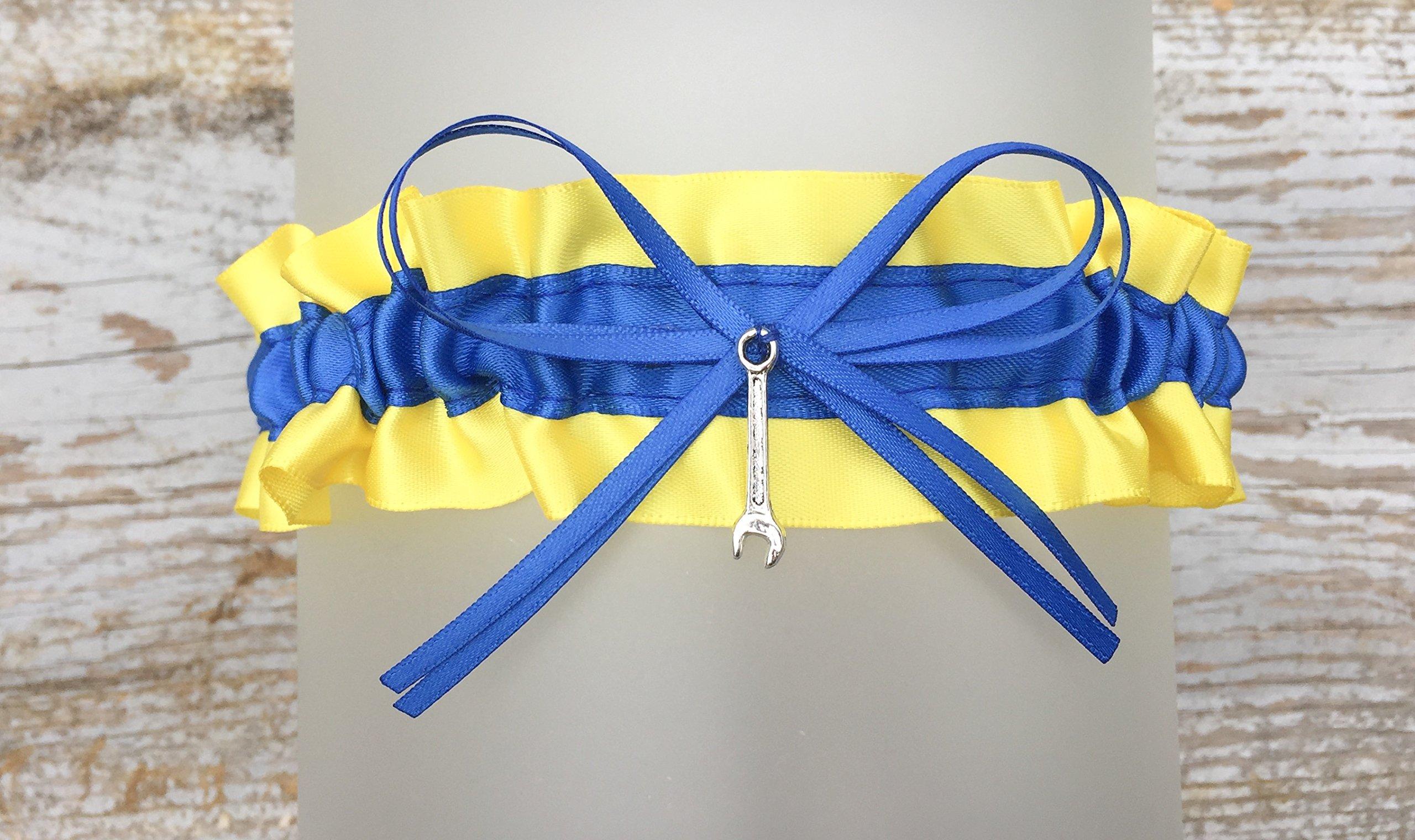 Sexy Yellow Royal Blue Satin Keepsake Bridal Garter - Pick A Charm